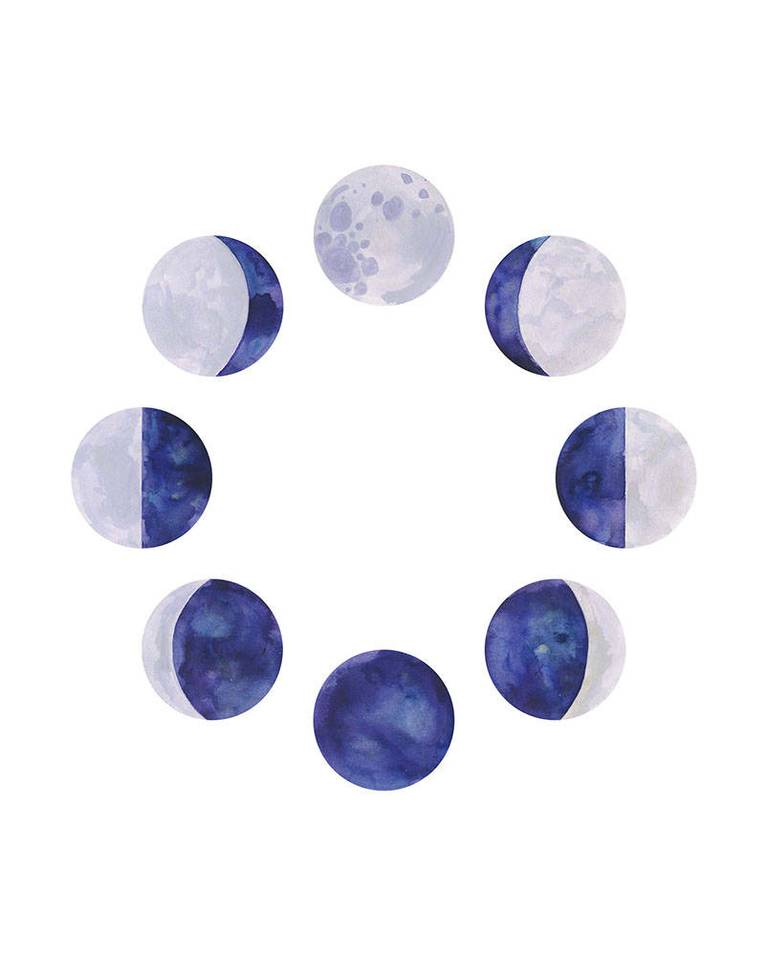 "Moon Phase Watercolor Art Print - 8"" x 10"""