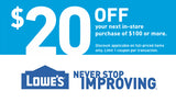 ONE (1x) Lowes $20 OFF $100 Purchase Printable Coupon (to use IN-STORE)