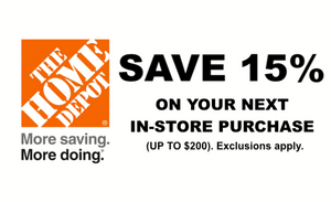 ONE (1x) 15% OFF Home Depot Printable Coupon (to use IN-STORE only)