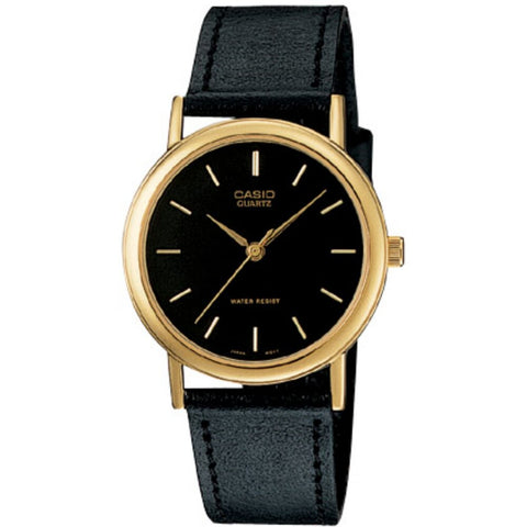 Casio Analog Leather Strap Watch / Black Gold (MTP-1095Q-1A)