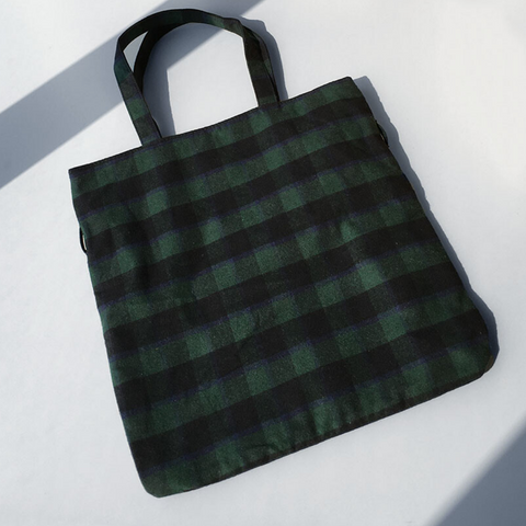 Pattern Tote Bag with Ribbon  (Green)