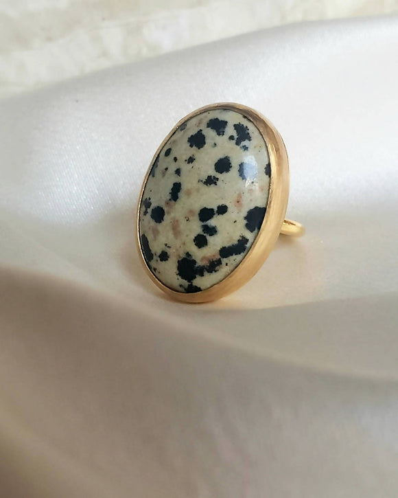 Copper - Dalmatian Jasper Ring