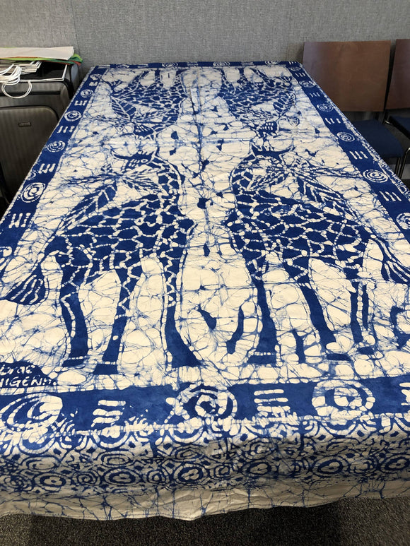 Blue Giraffe Tablecloth