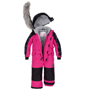 Deux Par Deux 1pc. Snowsuit- Pink Peacock - 2
