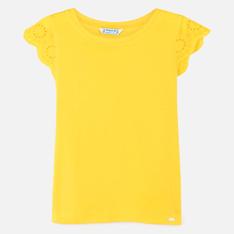 Mayoral Ruffle Sleeve Top - Yellow - 8