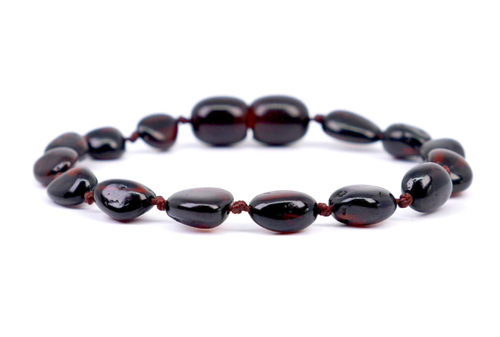 Amber Teething Anklet- Cherry Round