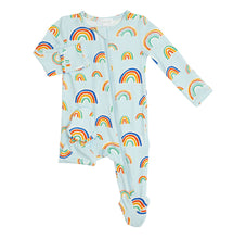 Load image into Gallery viewer, Angel Dear Blue Rainbow Zipper Footie