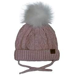 Calikids Infant Cable Knit Pom Hat