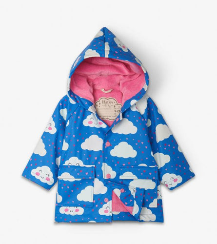 Hatley Cheerful Clouds Colour Changing Baby Raincoat
