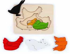 Chickens and Friends Wooden Layer Puzzle