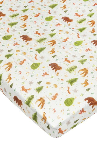 LouLou Lollipop Fitted Crib Sheet- Forest Friends