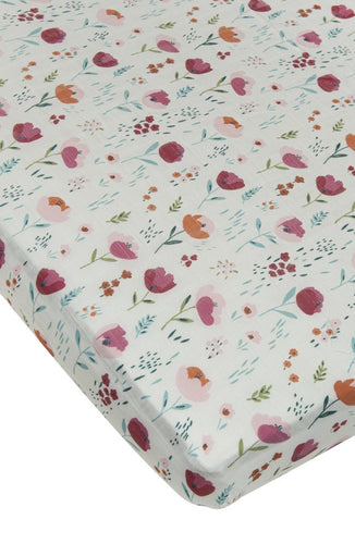 LouLou Lollipop Fitted Crib Sheet- Rosey Bloom