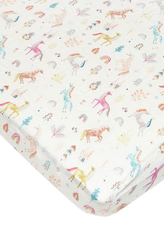 LouLou Lollipop Fitted Crib Sheet- Unicorn Dream