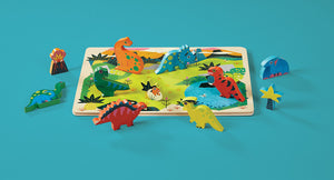 Let's Play 16pc. Wood Puzzle- Dinosaurs