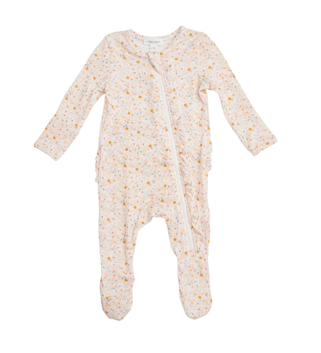 Angel Dear Floral Zipper Footie