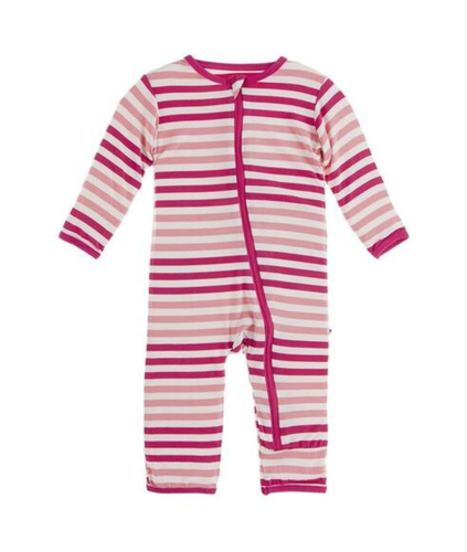 Kickee Pants Zip Coverall- Forest Fruit Stripe