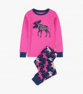LBH Moose on Pink 2pc pj w/ Kenora - 2