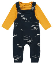 Load image into Gallery viewer, Noppies Navy and Yellow Fish Overall Set
