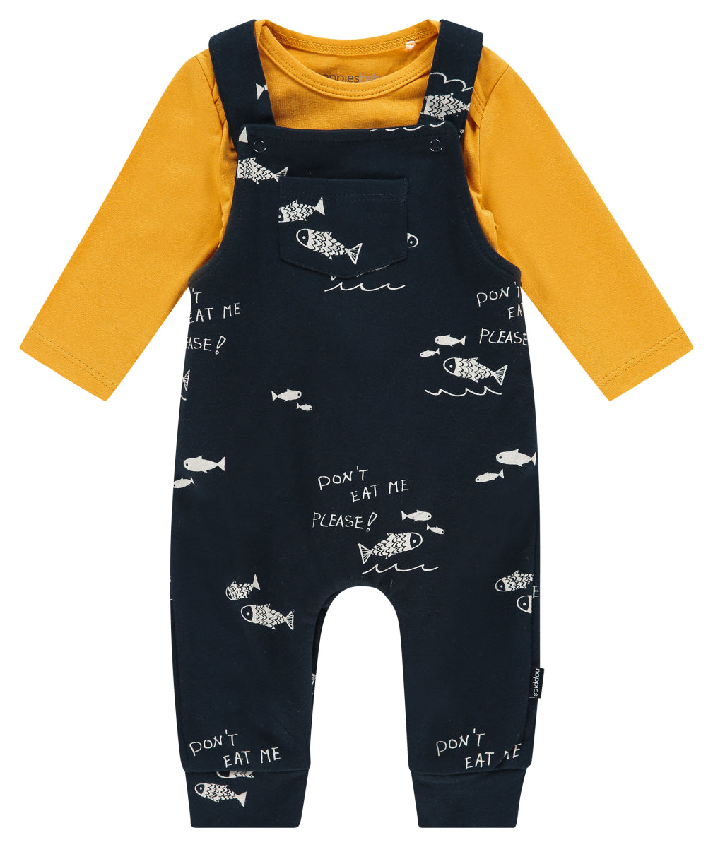Noppies Navy and Yellow Fish Overall Set