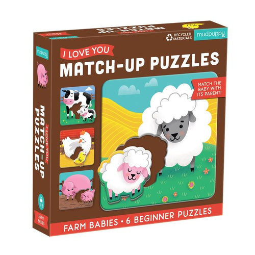 I Love You Match-Up Puzzle- Farm Babies 2pc