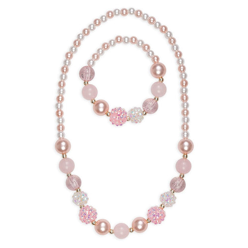 Pink Pearl Necklace & Bracelet Set
