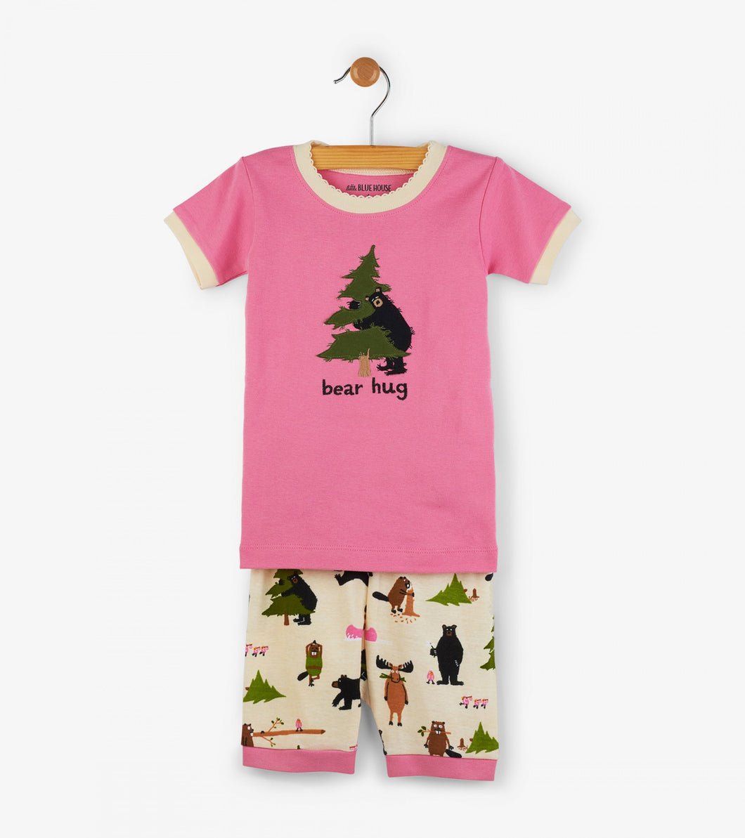 LBH Pink Bear Hug Kids Short Pajama Set