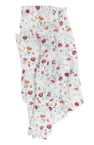 LouLou Lollipop Muslin Swaddle- Rosey Bloom