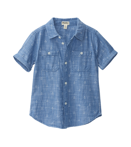 Hatley Chambray Anchors SS Button Shirt