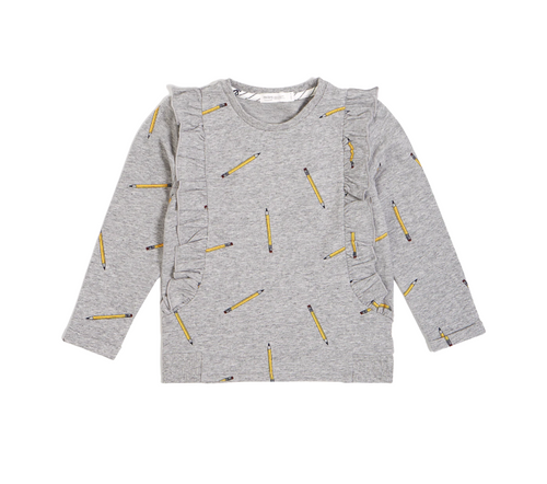 Miles Baby School Pencils Ruffle Sweater