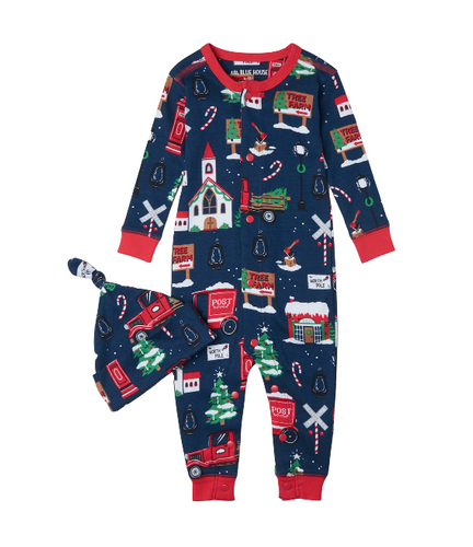 LBH Navy Christmas Village Coverall w Hat 3-6m