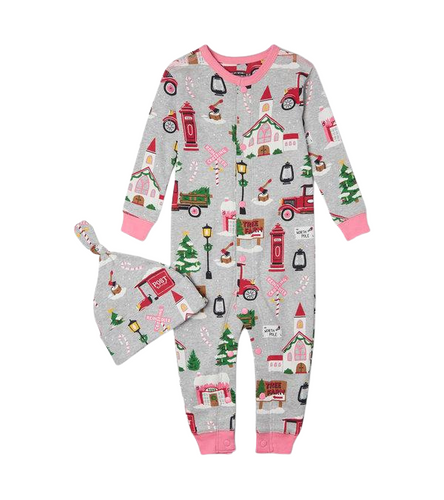 LBH Christmas Village Coverall w Hat 3-6m