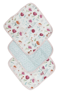 LouLou Lollipop Washcloth 3pc. Set- Rosey Bloom