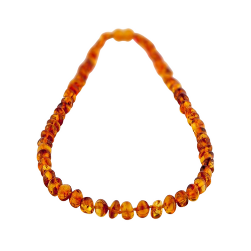 Amber Teething Necklace- Cognac Round