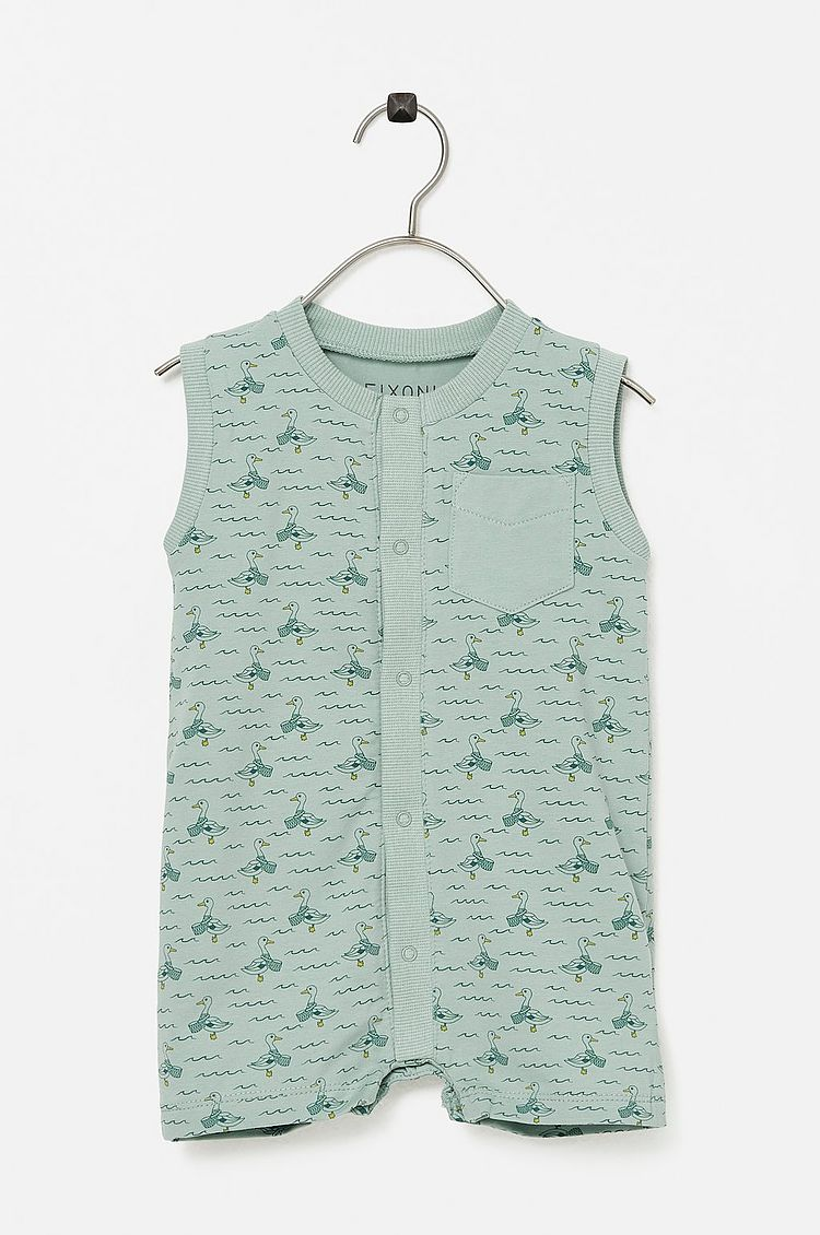 Fixoni Grey Mist Ducks Romper - 1m