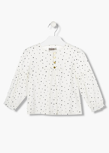 Losan - White Blouse with Stars & Hearts - 4