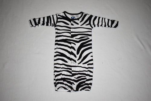 Kickee Pants Convertible Gown Zebra 3-6m