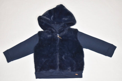 Mayoral Navy Fur Jacket 9m