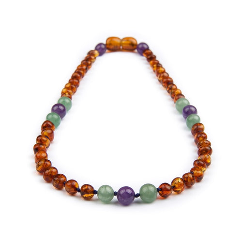 Amber Teething Necklace - Cognac Gemstone