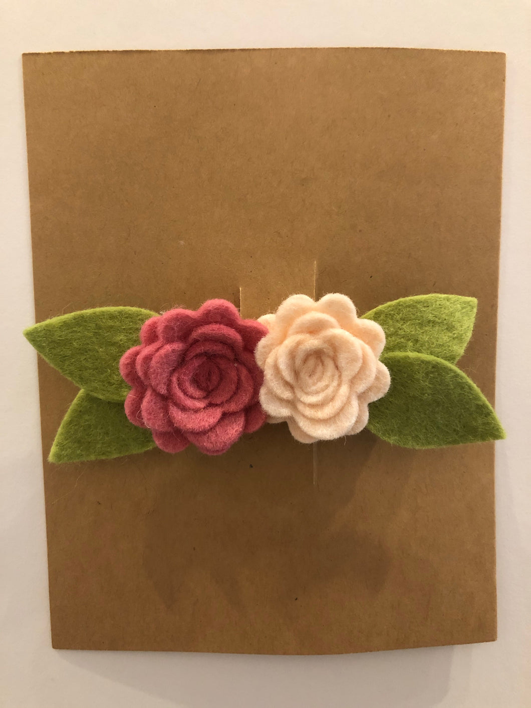 Felt Flower Duo Clip- Pink