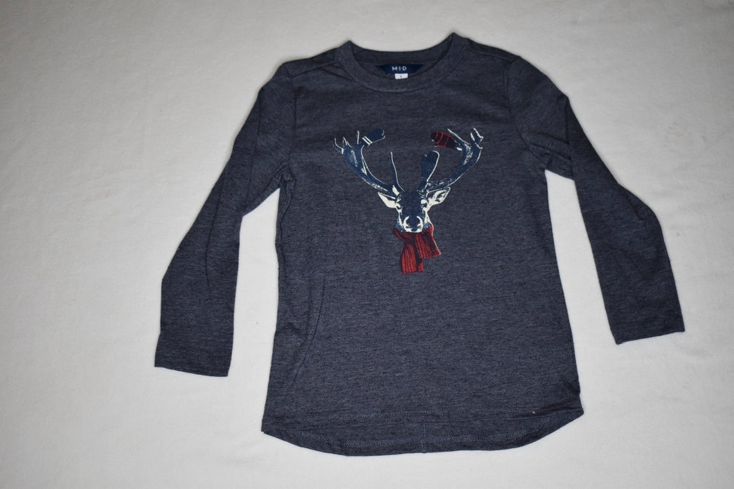 MID Navy Deer with Scarf LS Tee