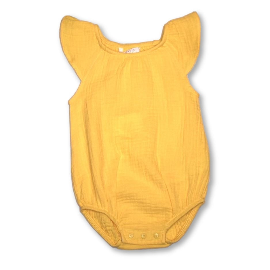 Petit Lem Yellow Cotton Gauze Bodysuit