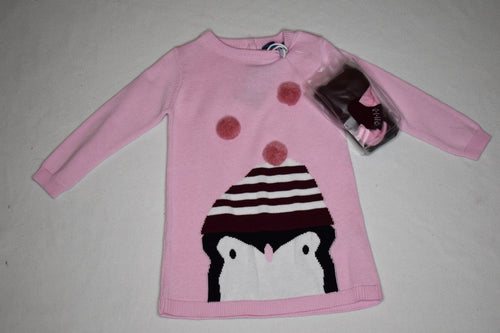 MID Sweater Dress with Penguin - 9-12m