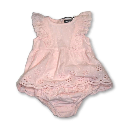 MeToo Peach Blush Dress with Bloomers - 9m