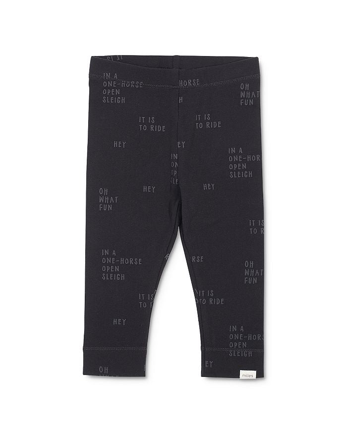 Miles Baby Navy Jersey Leggings - Xmas song text