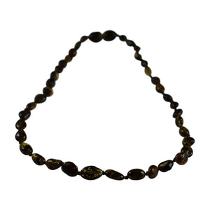 Amber Teething Necklace - Olive Bean