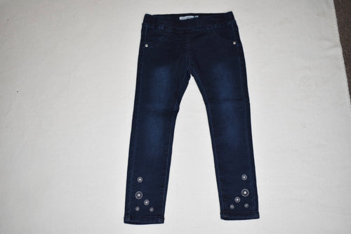 Minymo - Denim Jegging w Floral Stitch - 4