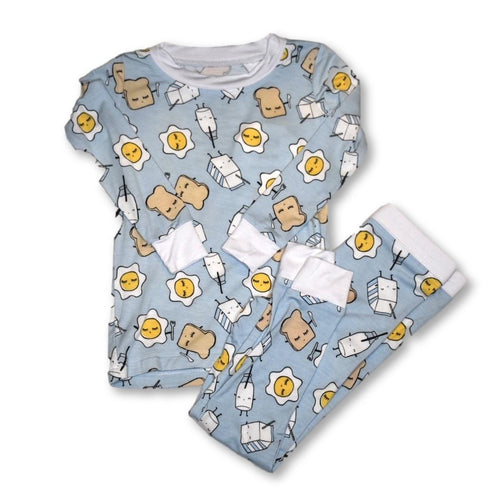 Little Sleepies - Breakfast Blue Bamboo 2pc Pjs
