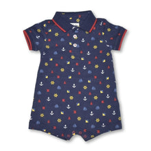 Load image into Gallery viewer, Hatley Nautical Emblems Polo Romper