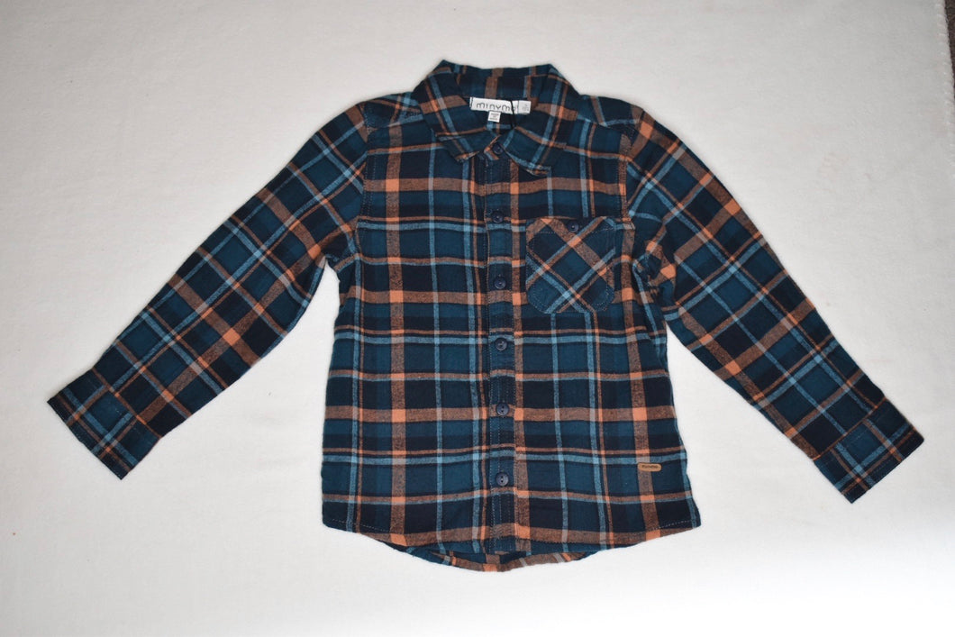 Minymo Orange & Blue Plaid Button Up - 4