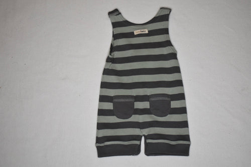 L'oved Baby Sleeveless Romper - Green / Grey - 3-6m